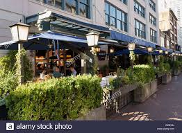 outdoor patio of the blue water cafe in yaletown vancouver
