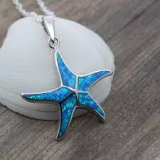 blue opal necklace starfish opal starfish necklace opal necklace blue opal