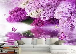 photo customize size 3d classic home decor purple flower water
