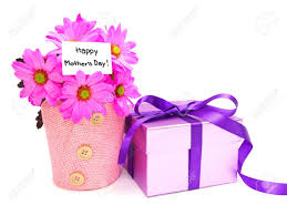 mothers day gifts potted pink daisies and gift box stock photo
