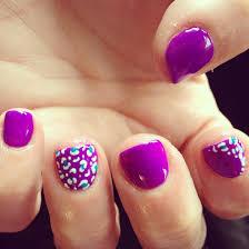 nails shellac gelish gel nails nail art purple cheetah teal
