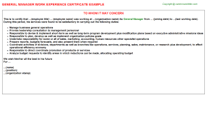Request Letter For Certification Of Employment Exles General Manager Work Experience Certificate