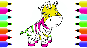 coloring pages colorful zebra how to draw animals drawing and