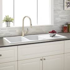 Tansi DoubleBowl DropIn Sink With Drain Board White Kitchen - White composite kitchen sinks