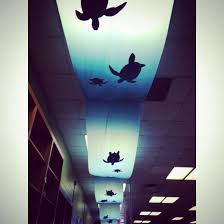 sea turtle ceiling decoration using table cloths and paper out