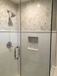 Master Bathroom Tile Designs Love The This Shower And The Gray And White Tile Chevron Marble