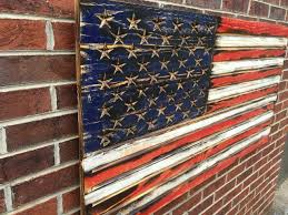 Navy Flag Meanings Rustic Engraved Wooded American Flag