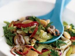 grilled squid salad with celery leaf pesto recipe