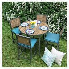 High Patio Table Woodbridge 5 Piece High Dining With Sunbrella Fabric Dupione
