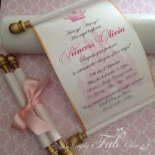scroll baby shower invitations royal disney princess scroll