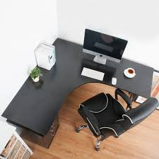 Black Office Desk Carver L Shape Large Corner Computer Desk Pc Table Corner