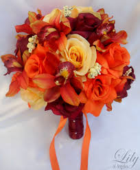Yellow Orange Flowers - orange wedding bouquets 17pcs wedding bridal bouquet set
