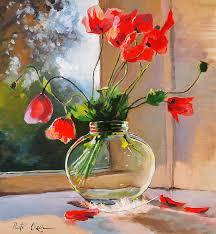 Vase With Red Poppies Poppies In A Glass Vase Painting By Piotr Olech