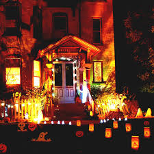 halloween fences a big house with white double door combined with orange lantern