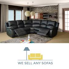 Recliner Sofa Suite Valencia Black Leather Reclining Corner Sofa