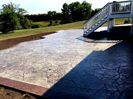 Colored Concrete Patio Pictures Backyard Stamped Concrete Patio With Border Blackwater
