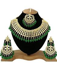 gold plated choker necklace images Finekraft meena kundan green gold plated choker necklace set for jpg