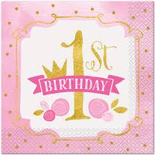 pink and gold 1st birthday lunch napkins 16