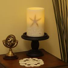 flameless 4x6 wax pillar seashell candle pacific accents