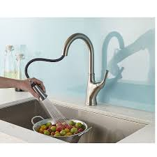 stainless steel cantara 1 handle pull down kitchen faucet f 529