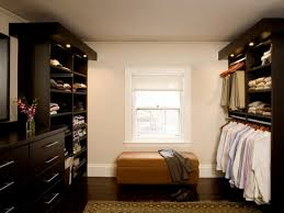 contemporary dressing room with battery operated closet lighting