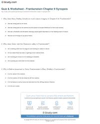 Seeking Frankenstein Quiz Worksheet Frankenstein Chapter 9 Synopsis Study
