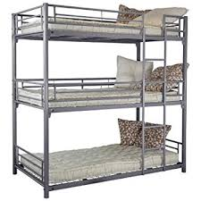 Three Level Bunk Bed 3 Level Bunk Bed 90 X 190 Cm Metal Silver 99x200x204 Amazon