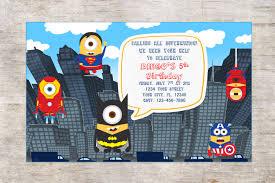Superhero Invitation Card Minion Superheroes Invitation Birthday Partydigital