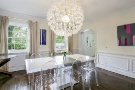 Wainscoting In Dining Room Eclectic Dining Room With Hardwood Floors U0026 Chandelier In New