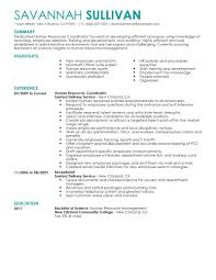 Human Resource Resume Sample by Best Hr Coordinator Resume Example Livecareer