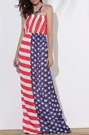 Model American Flag Maxi Dresses L Maxi Patriotic American Flag Strapless Casual
