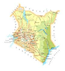 Map Of Equator Detailed Road And Physical Map Of Kenya Kenya Detailed Road And