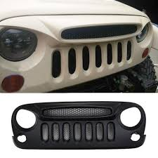 jeep wrangler front grill safaripal shark nose ghost jeep front grille grill w mesh for jeep