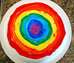 paper plate rainbow craft mess for less