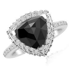 trillion engagement ring cut black halo engagement ring