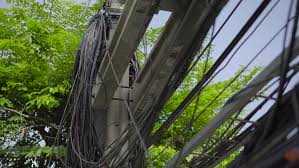 Messy Wires Bangkok Thailand February 15 2016 View Of Messy Telephone
