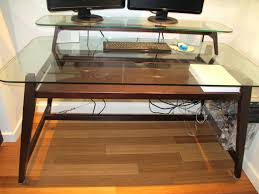 Glass Computer Desk With Drawers Desk Appealing Glass Computer Desk With Drawers Europa Black