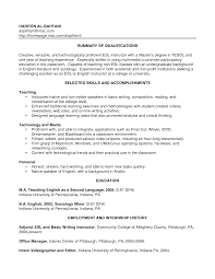 example of education resume sample esl teacher resume template