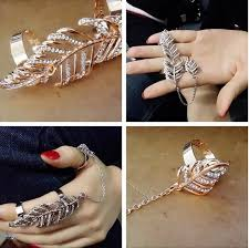 crystal chain rings images Latest double ring jewelry gold finger chain ring designs buy jpg