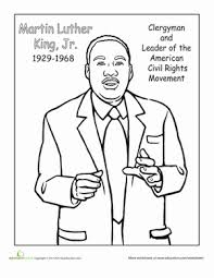 Color Dr Martin Luther King Jr Worksheet Education Com Dr Martin Luther King Jr Coloring Pages