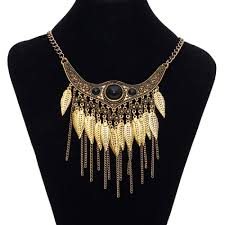 fashion jewelry statement necklace images Vintage leaves power statement bohemian maxi tassel necklace jpg