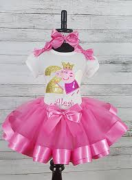 peppa pig ribbon peppa pig hot pink personalized birthday shirt ribbon tutu 3