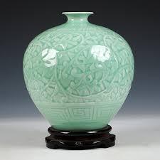 antique green engraving porcelain vase floor vase large vase