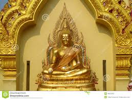 gold colour buddha statue in buddhist temple stock photo image