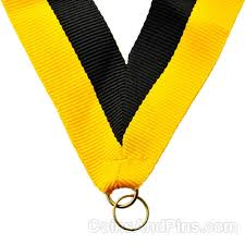 black and yellow ribbon neck ribbon yellow black