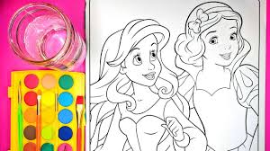 coloring ariel snow white coloring pages watercolor