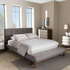 Gray Platform Bed Baxton Studio Reena Modern And Contemporary Grey Fabric Queen Size