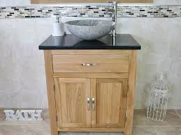 Stone Basin Vanity Unit Bathroom Vanity Unit Oak Cabinet Wash Stand Black Quartz Marble