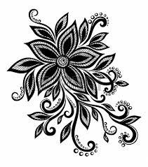 flower designs black and white