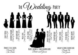 Wedding Program Card Stock Custom Printable Wedding Party Bridal Party Silhouette Program